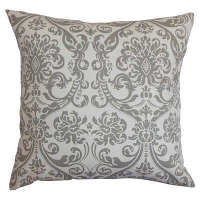 Abigail Cotton Throw Pillow Color: Gray/White, Size: 18 x 18