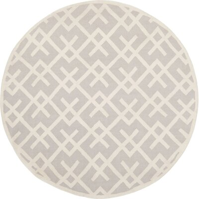 Dhurries Hand-Woven Wool Gray/Ivory Area Rug Rug Size: 6 Round