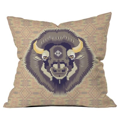 Geometric Bison 1 Outdoor Throw Pillow Size: 18 H x 18 W x 4 D