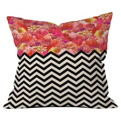 Chevron Flora Throw Pillow Size: 26 H x 26 W x 4 D