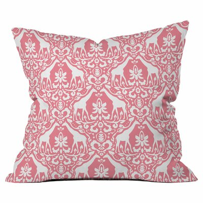 Giraffe Damask Salmon Outdoor Throw Pillow Size: 18 H x 18 W x 4 D