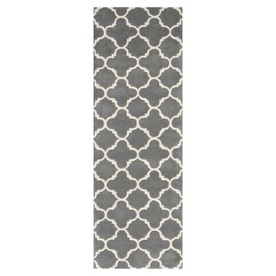 Averett Hand-Tufted Wool Dark Gray/Ivory Area Rug Rug Size: Runner 23 x 11