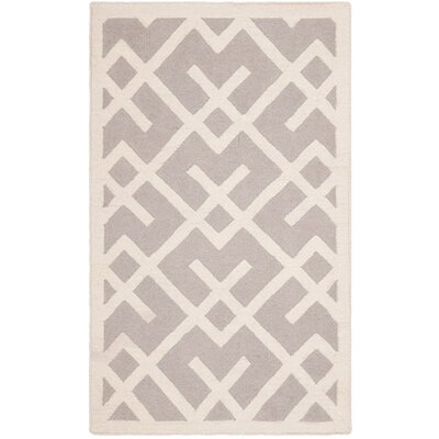 Dhurries Hand-Woven Wool Gray/Ivory Area Rug Rug Size: Rectangle 9 x 12