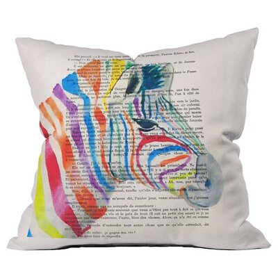 Zebra Head Outdoor Throw Pillow Size: 16 H x 16 W