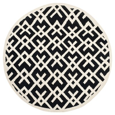 Dhurries Hand-Woven Wool Black/Ivory Area Rug Rug Size: Round 8