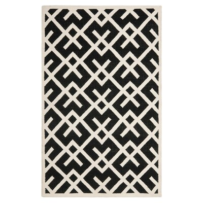 Dhurries Black/Beige Area Rug Rug Size: 8 x 10
