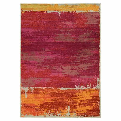 Expressions Abstract Red Area Rug Rug Size: Rectangle 53 x 76