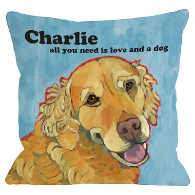 Personalized Love & A Dog Throw Pillow