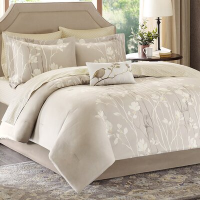Vaughn Comforter Set Size: Queen, Color: Taupe