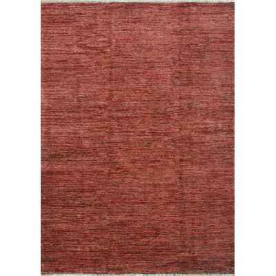 Transo Hand Knotted Wool Red Area Rug Rug Size: 86 x 116