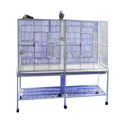 Double Flight Bird Cage with Divider Color: Pure White