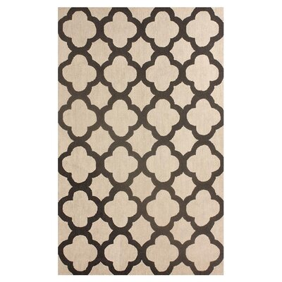 Devendra Hand-Hooked Wool Beige Area Rug Rug Size: 76 x 96