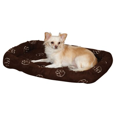 "Embroidered Paw Print Crate Dog Mat Size: X-Small (17.75"" L x 11.75"" W), Color: Chocolate"
