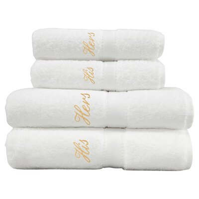 4-Piece His & Hers Towel Set in White & Gold