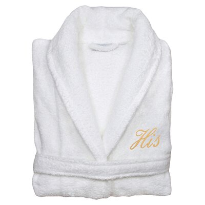 His Bathrobe in White & Gold Size: Large/Extra Large