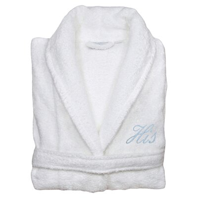 His Bathrobe in White & Light Blue Size: Small/Medium