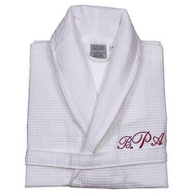 Personalized Waffle Bathrobe in White & Red Size: Small/Medium