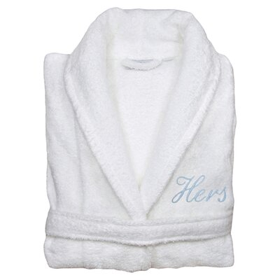 Hers Bathrobe in White & Light Blue Size: Small/Medium