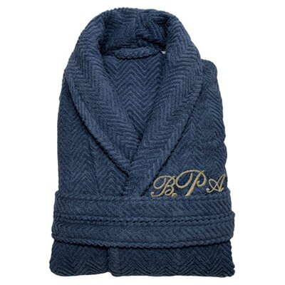 Personalized Herringbone Bathrobe in Midnight Size: Small/Medium