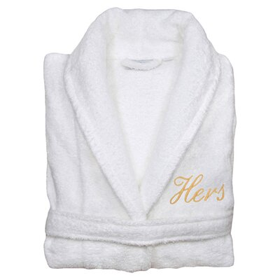 Hers Bathrobe in White & Gold Size: Large/Extra Large