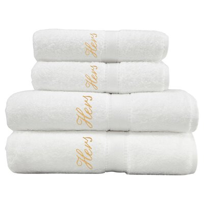 4-Piece Hers Towel Set in White & Gold