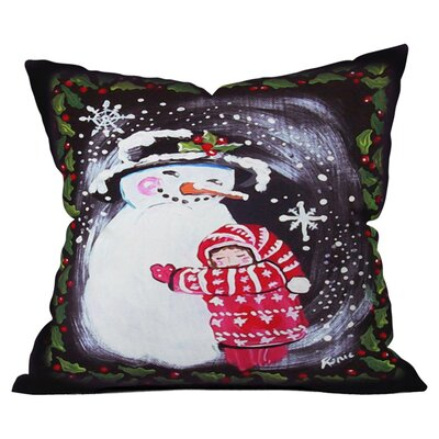Snowman Hugs Girl Outdoor Throw Pillow Size: 26 H x 26 W
