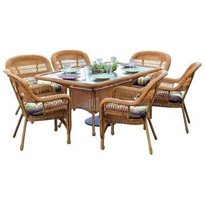 Tortuga Outdoor Portside 7 Piece Dining Set - Fabric: Eastbay Pompeii, Finish: Dark Roast at Sears.com