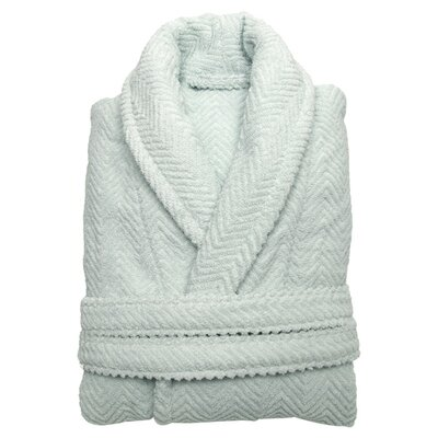 Herringbone Bathrobe in Soft Aqua Size: Large/Extra Large