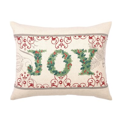 Joy Embroidery Cotton Lumbar Pillow