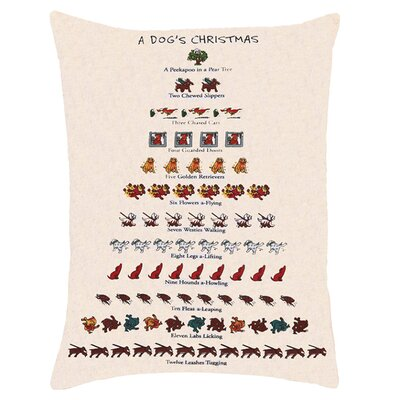 Dogs Christmas Linen Lumbar Pillow