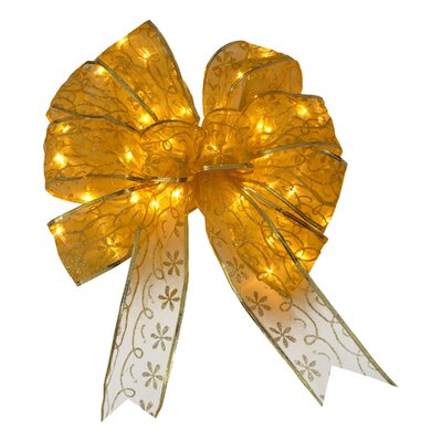 Bow Christmas Decoration with Dual Color LED lights Color: Gold