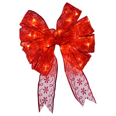 Bow Christmas Decoration with Dual Color LED lights Color: Red