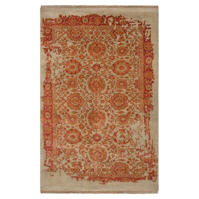 Drea Hand-Knotted Beige/Orange Area Rug