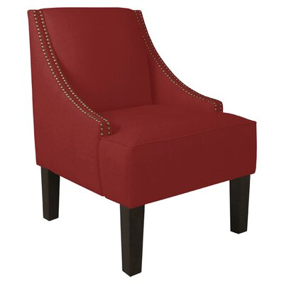 Fassbender Side Chair Upholstery: Linen Antique Red, Nailhead Detail: Brass Nailhead