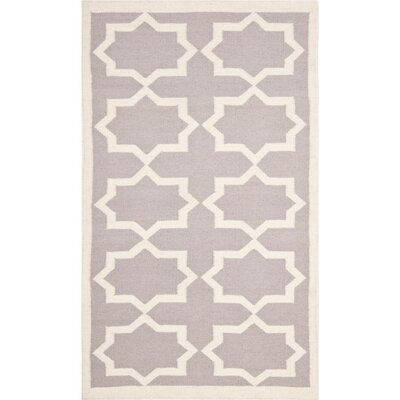 Dhurries Purple/Ivory Area Rug Rug Size: Rectangle 6 x 9