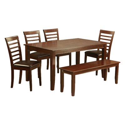Dudley 6 Piece Dining Set Chair Upholstery: Faux Leather