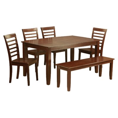 Dudley 6 Piece Dining Set Chair Upholstery: Wood Seat