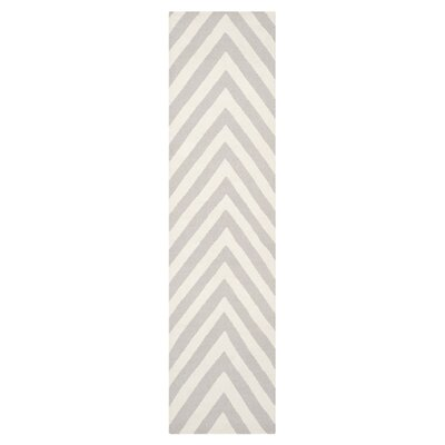 Dhurries Wool Gray/Ivory Area Rug Rug Size: Runner 26 x 12
