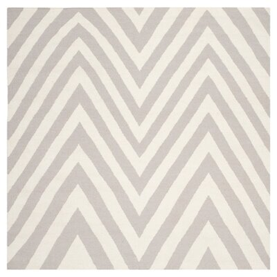 Dhurries Grey & Ivory Area Rug Rug Size: Square 8