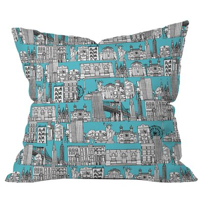 New York Outdoor Throw Pillow Size: 18 H x 18 W