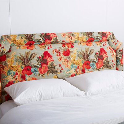 Floral Tufted Polyester Upholstered Headboard Size: King