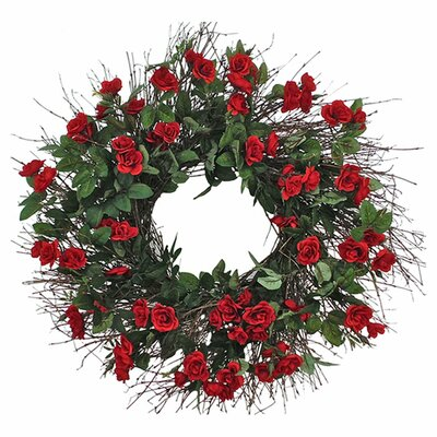 Faux Mini Red Rose 22 Wreath Size: 22 H x 22 W x 5 D
