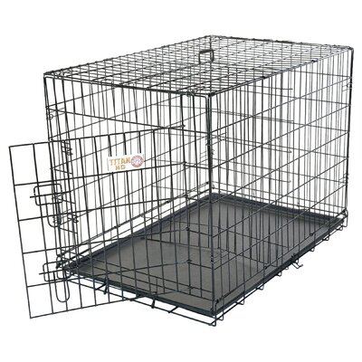 Single Door Folding Pet Crate Size: Large (30 H x 28 W x 42 L)