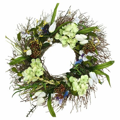 Faux Tulip and Hydrangea 22 Wreath