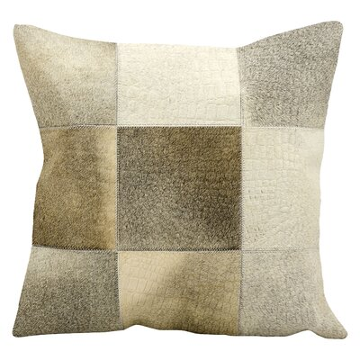 Natural Leather and Hide Throw Pillow Color: Grey