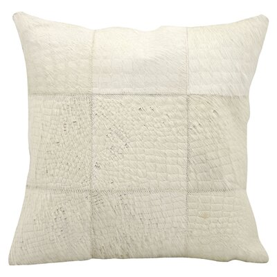 Natural Leather and Hide Throw Pillow Color: White