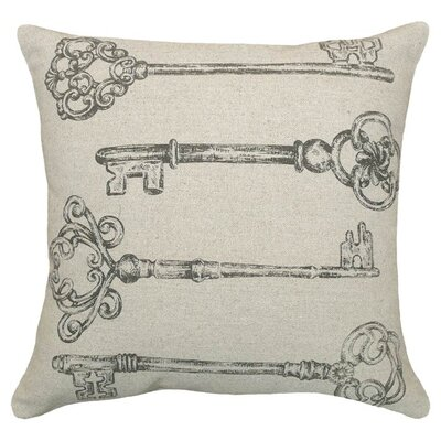Skeleton Key Linen Throw Pillow