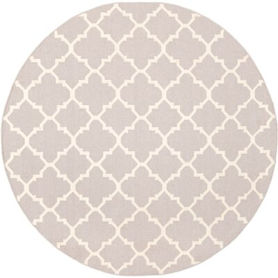 Dhurries Wool Ivory Area Rug Rug Size: 8 Round