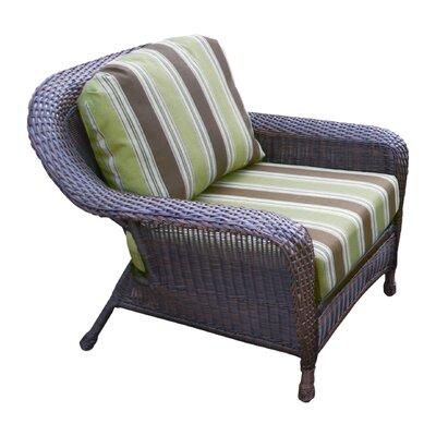 Tortuga Outdoor Lexington Club Chair - Fabric Color: Inoteka Indigo, Finish: Tortoise