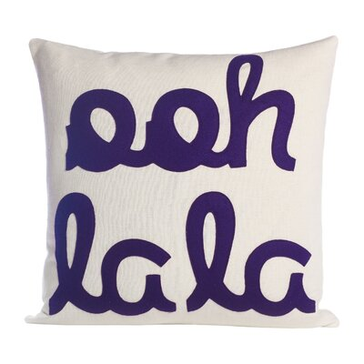 It Start With A Kiss Ooh La La Throw Pillow Size: 22 W x 22 D, Color: Cream & Purple Felt